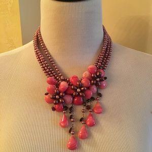 Faux Multi Color Pearl Necklace